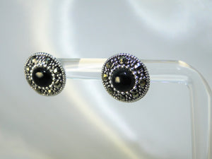 Black 925 Sterling Silver Stud Earrings