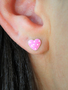 Light Pink Heart 925 Sterling Silver Stud