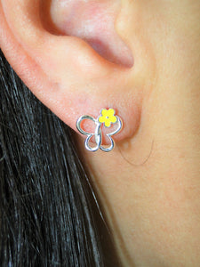 Yellow Butterfly 925 Sterling Silver Earring