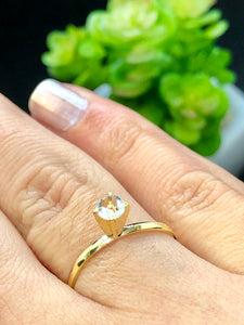 Solitaire 18k Gold-plated Ring - Sweetas Trends