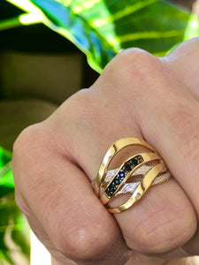 Black Zircon 18k Gold-plated Ring - Sweetas Trends