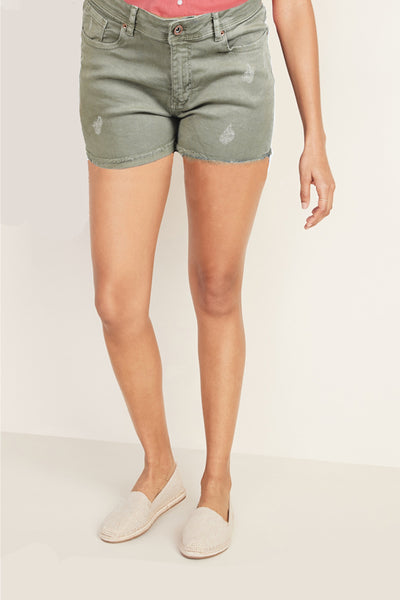 High waist Denim Ripped Patched Short by Springfield