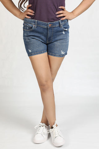 Mid Rise Super Stretch Ripped Denim Short by Springfield