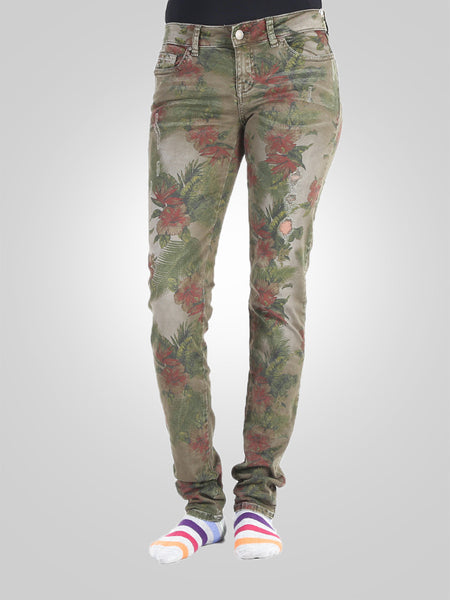 New look Curves Ripped Khaki Print Skinny Jeans By Guess