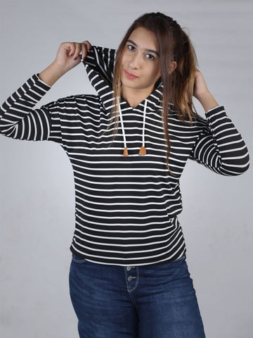 Classic Striped Long Sleeve Hoodie By Jimmy Rochas