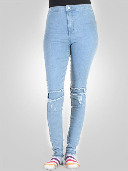 Ripped Patched High Waist Skinny Jeans by Denim & Co
