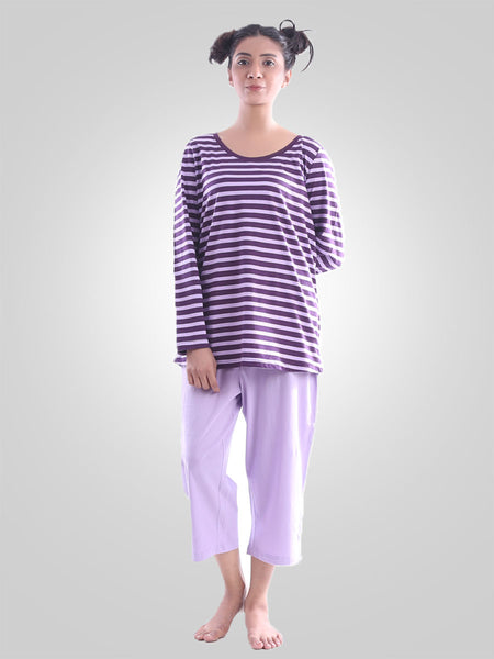Euphoria Stripes Cotton Lounge Wear Suit By Jimmy Rochas