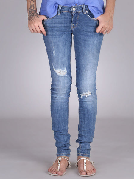 Low Skinny Ripped Jeans By Guess