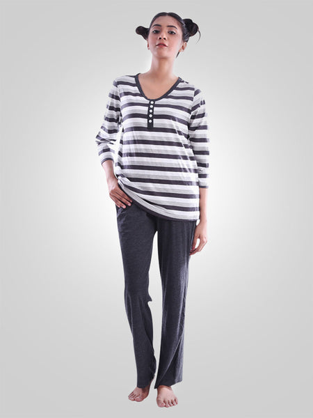 Lady Million Stripes Cotton Lounge Wear Suit By Jimmy Rochas