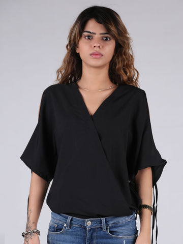 Off Shoulder V-Neck Short Sleeve Chiffon Top By Jimmy Rochas