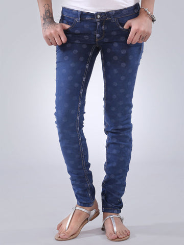 Polka Dotted Slim Fit Jeans By Orignal Lemmi