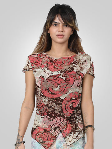 Print Floral V-Neck Short Sleeve Top By Jimmy Rochas