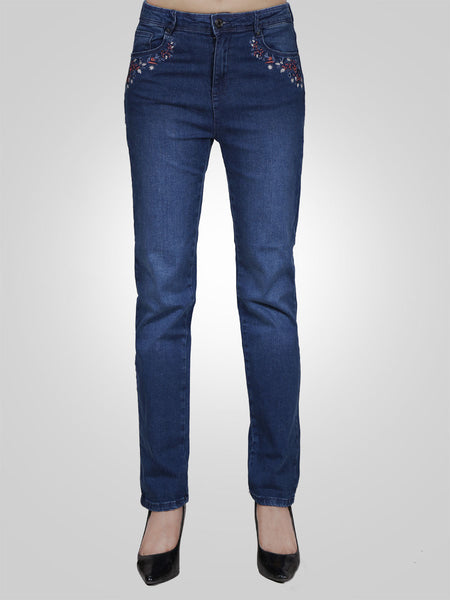 Side Pocket Embroidery Jeans by Armand Thiery