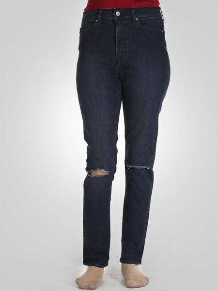 Knee Ripped Straight Leg Jeans By Springfield
