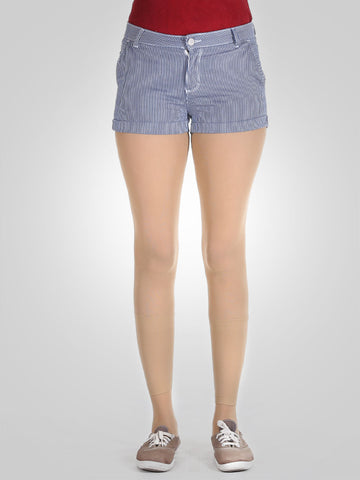 White & Blue Lining Classic Shorts By Springfield