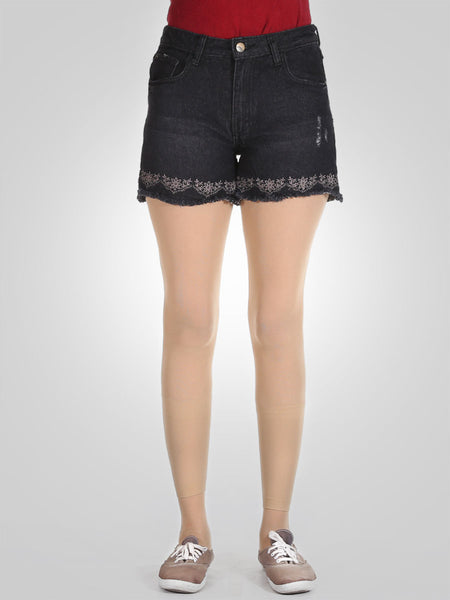 Sexy High Waisted Embroidery Denim Shorts By Springfield