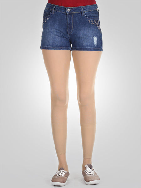 Stud Gold Embroidery Denim Ripped Shorts By Springfield