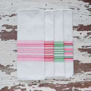 Antigua pink and green stripe towel
