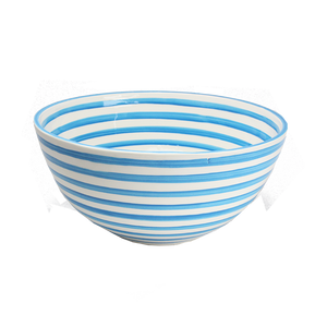 Turquoise Stripe Large Deep Bowl
