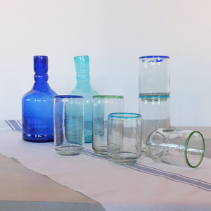 Blue rim large stacking glass