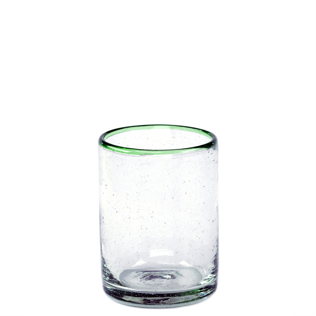 Green Rim Juice Glass