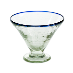 Blue Rim Margarita Glass