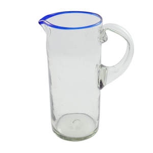Blue rim pitcher