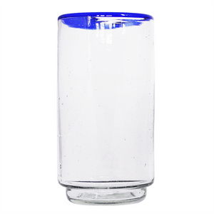 Large Blue Rim Stacking Glass
