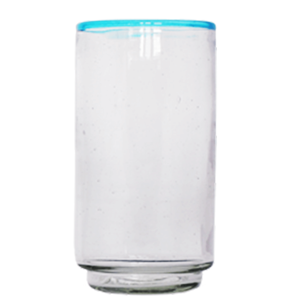 Large Aqua Rim Stacking Glass