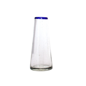 Blue rim conical small vase