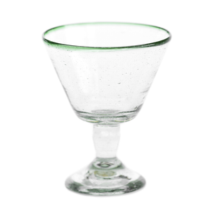 Green rim wine glass