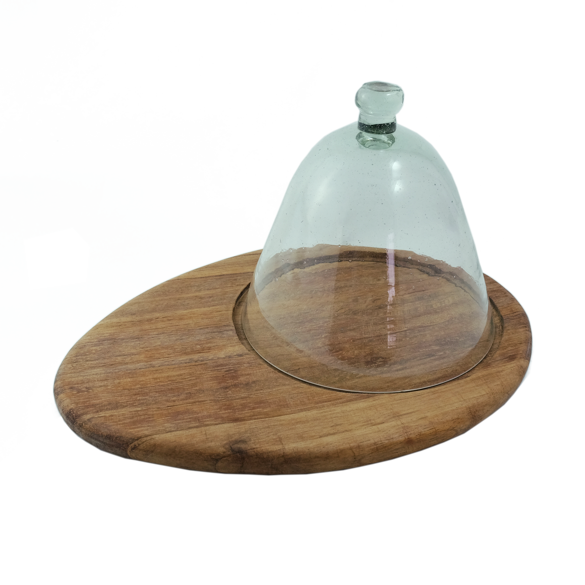 Glass dome with oval cheeseboard