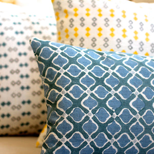 Silk blockprint pillow cover blue petal
