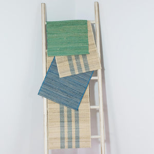 Peacock Blue Stripe Jute Runner