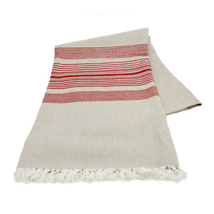 Wheat with Cranberry Stripes Tablecloth