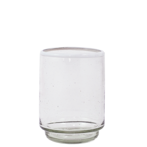 Med White Rim Stacking Glass