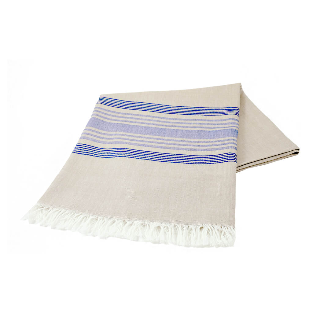 Wheat with Blue Stripes Tablecloth