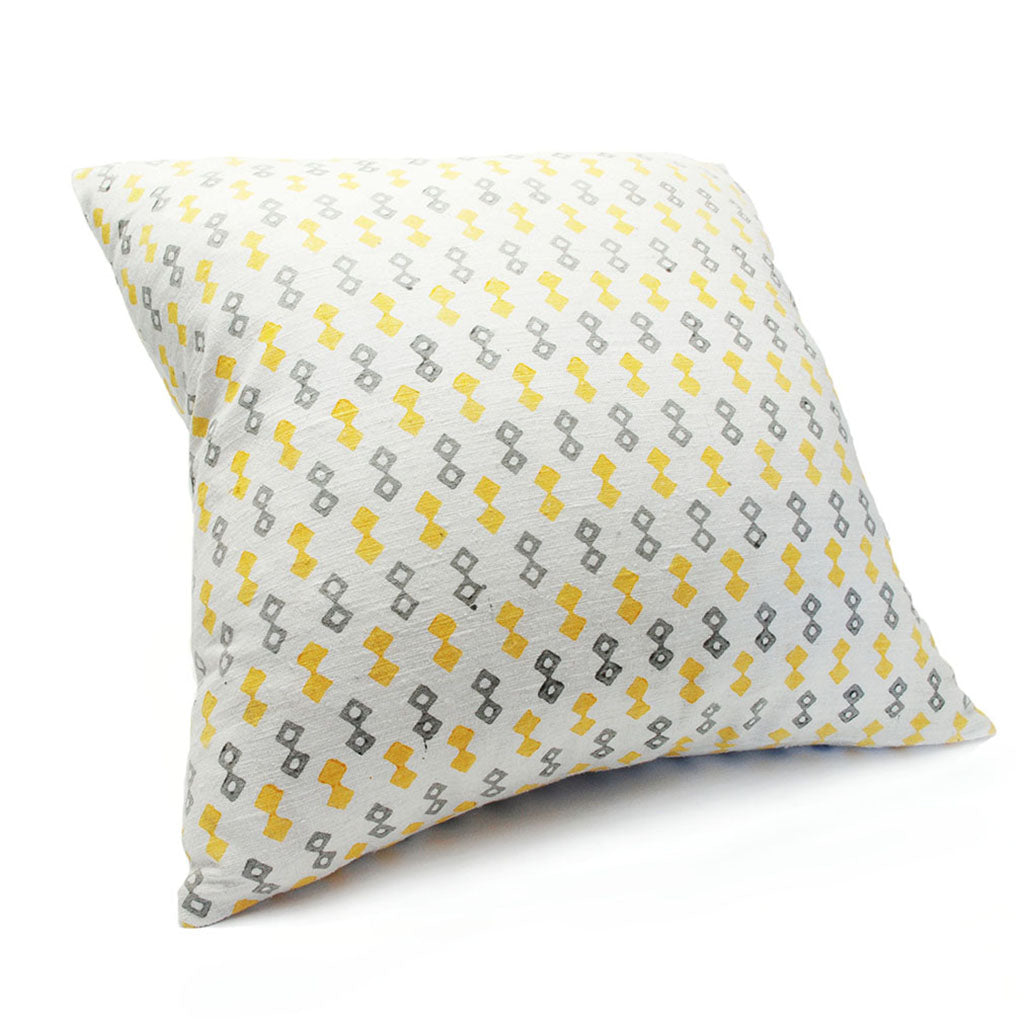Yellow Diamond Silk Pillow Cover