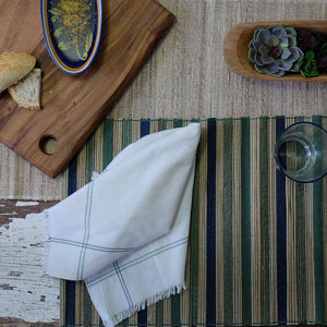Blue/green multi stripe placemat
