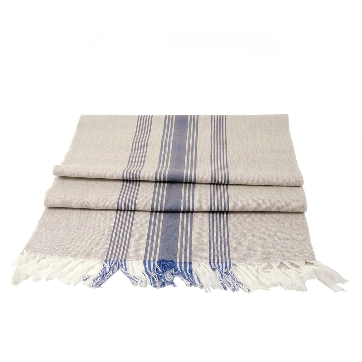 Wheat runner with blue stripes
