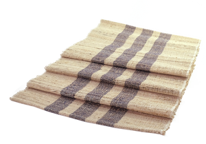 Blue stripe jute runner