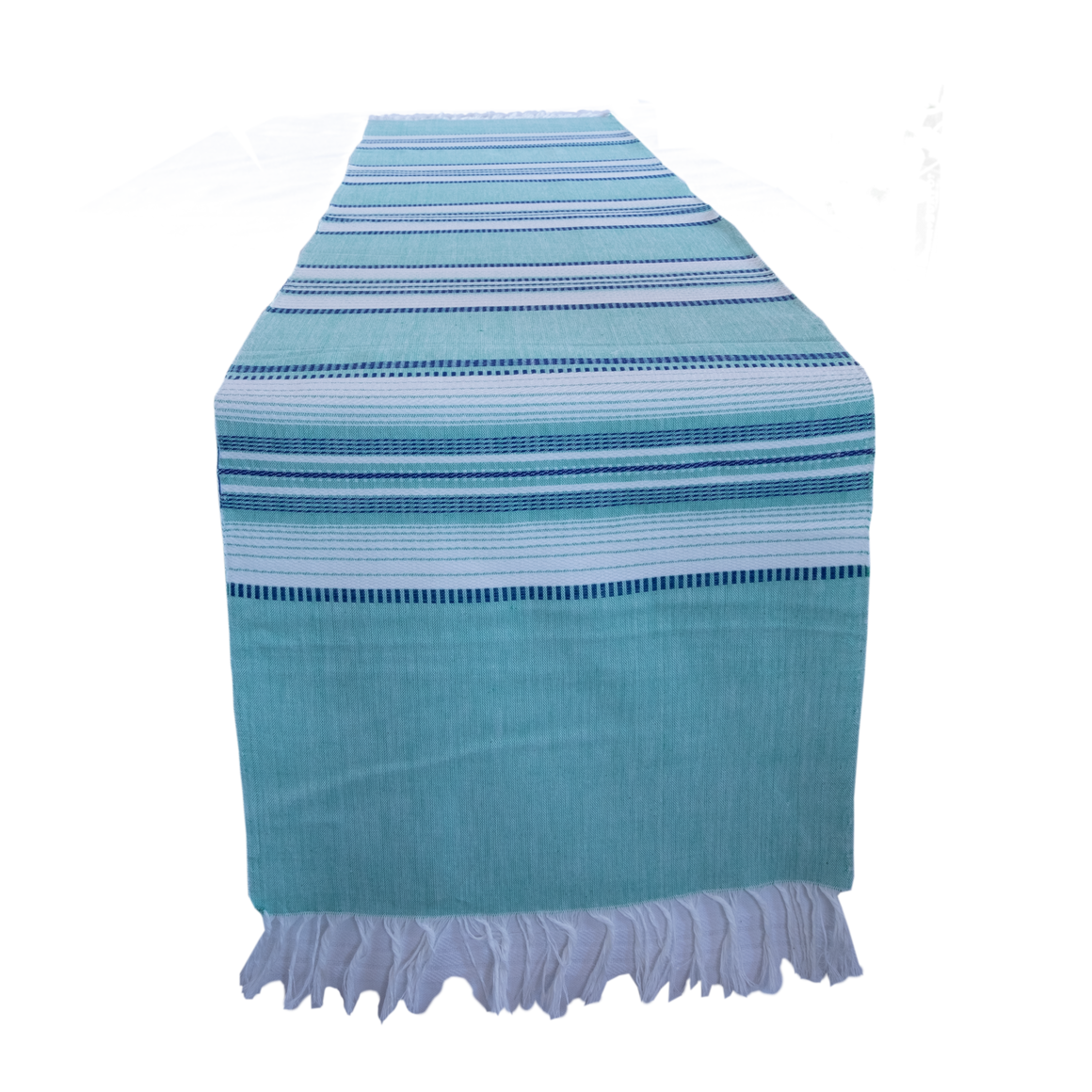 Teal runner with blue stripes