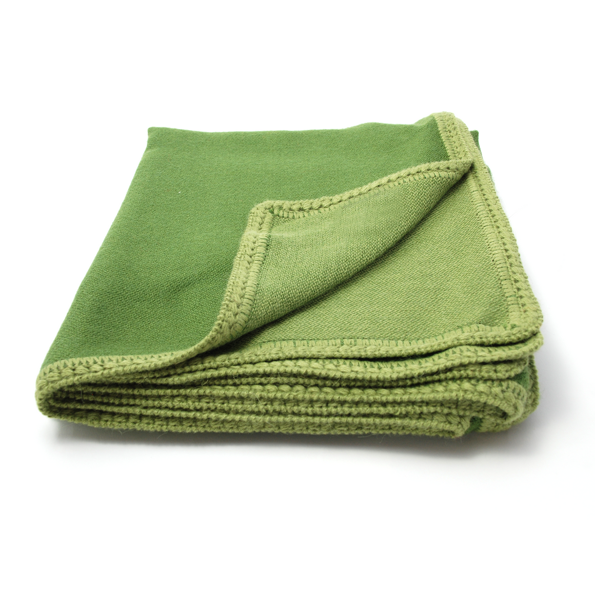Green reversible alpaca throw