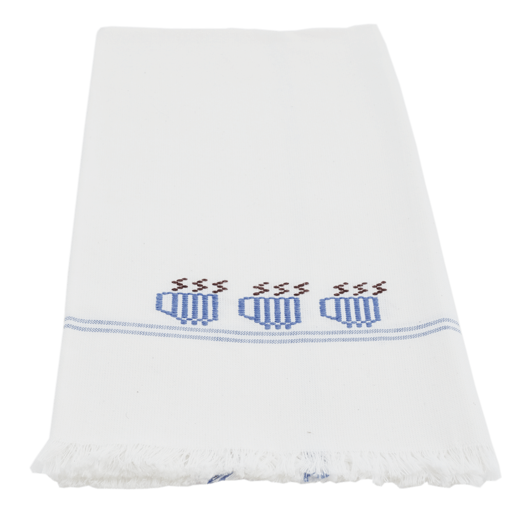 Blue 3 mugs towel