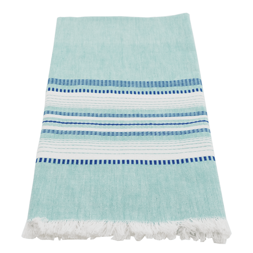 Teal/blue chambray towel
