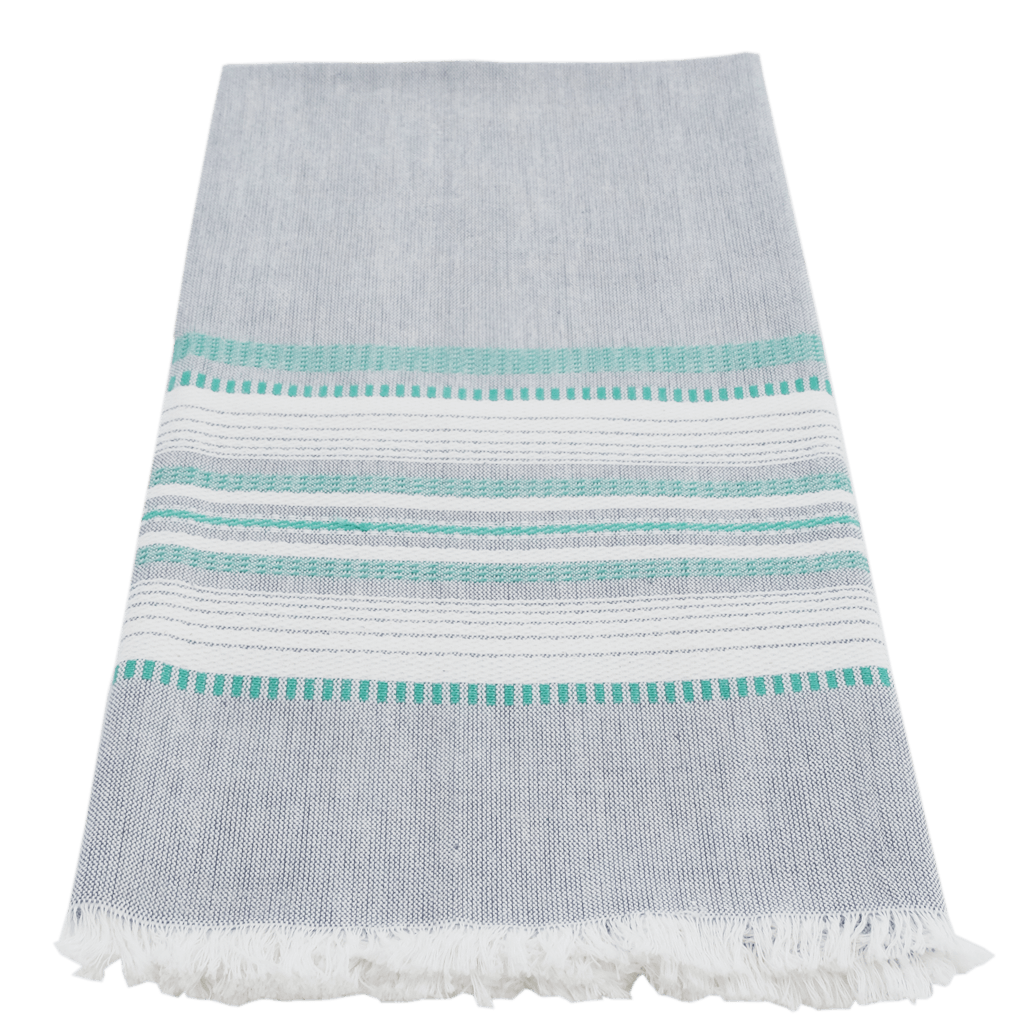 Slate with Teal Chambray Towel