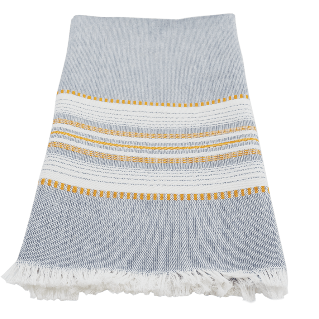 Slate/gold chambray towel
