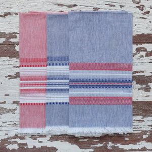 Blue with Red Chambray Towel