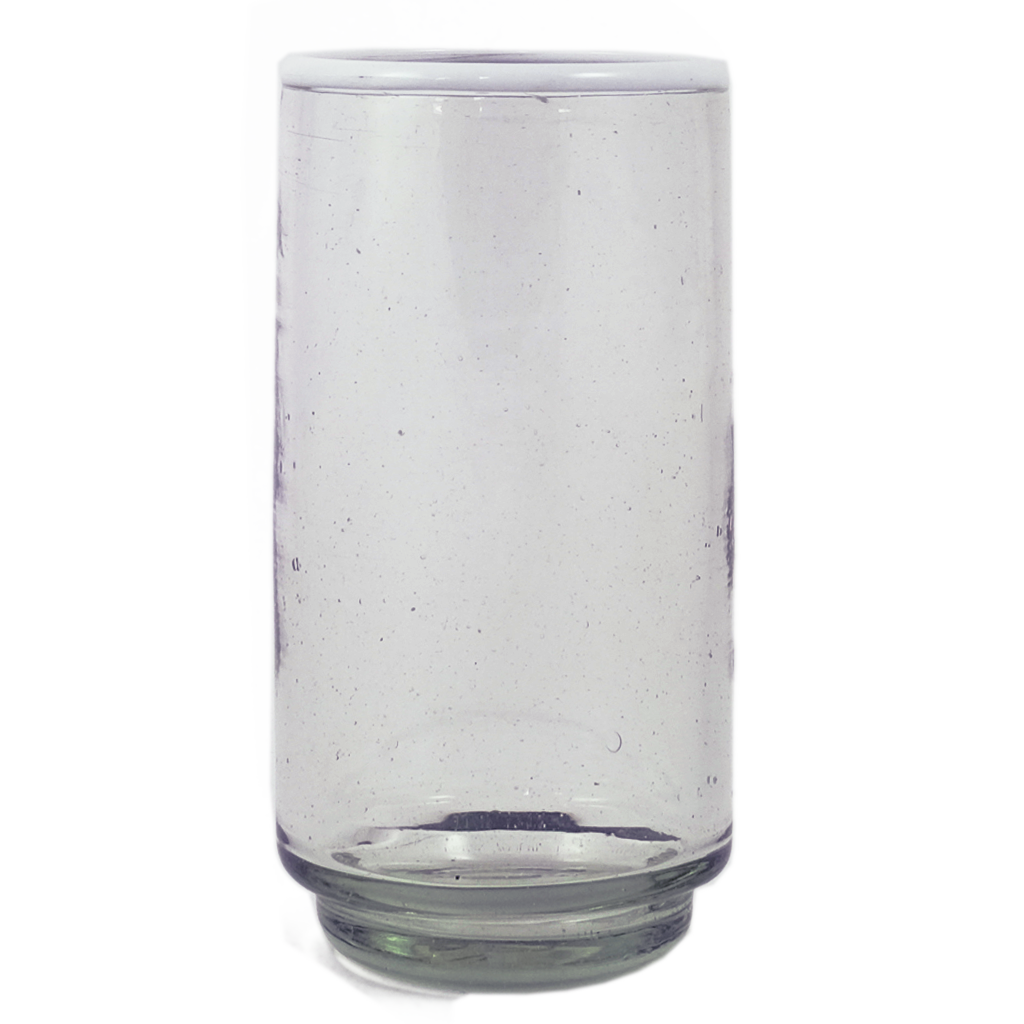 Large White Rim Stacking Glass