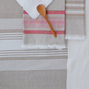 Wheat with White Stripes Tablecloth